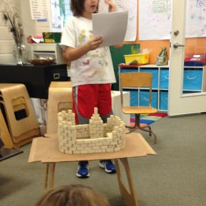 Historian Alexander shows us the parts of a castle he learned by building a scale model himself.